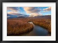 Framed Panoramic View Of A River And The Sierra Nevada Mountains