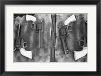 Framed Guns On Display For A Cowboy Mounted Shooting Competition