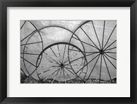 Framed Old Metal Wagon Wheels (BW)