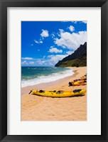 Framed Sea Kayaks On Milolii Beach, Island Of Kauai, Hawaii