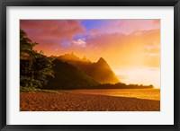 Framed Evening Light On Na Pali Coast Spires, Island Of Kauai, Hawaii