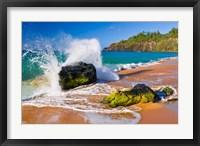 Framed Surf Crashing On Rocks At Secret Beach, Kauai, Hawaii