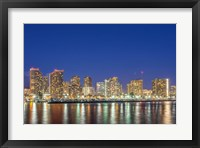 Framed Waikiki Skyline At Night, Honolulu, Hawaii