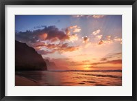 Framed Sunset Along The Coast Of Kauai, Hawaii