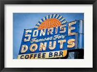 Framed Vintage Neon Sign For Sunrise Donuts