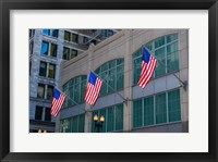 Framed Flags Hanging Outside An Office Building, Chicago, Illinois