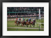 Framed Horses Racing On Turf At Churchill Downs, Kentucky