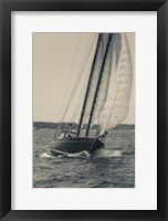 Framed Single Schooner In Cape Ann, Massachusetts (BW)