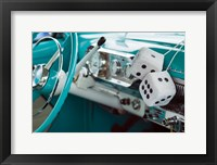 Framed 1950's Fuzzy Dice In A Teal Car