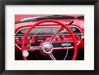 Framed Classic Red Steering Whell At An Antique Car Show