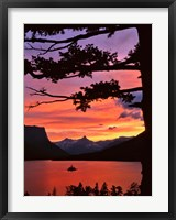 Framed St Mary Lake And Wild Goose Island At Sunset