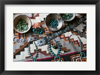 Framed Display Of Turquoise Accessories, Santa Fe, New Mexico