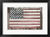 Framed Worn Wooden American Flag, Fire Island, New York