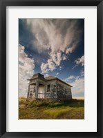 Framed Abandoned Township Hall On The North Dakota Prairie