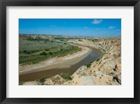 Framed Brown River Bend In The Roosevelt National Park, North Dakota