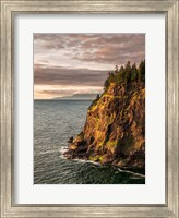 Framed Cape Meares State Park At Sunset, Oregon