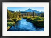 Framed Mt Bachelor And The Deschutes River, Oregon