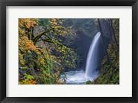 Framed Autumn At Metlako Falls On Eagle Creek, Oregon
