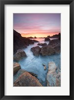 Framed Soft Sunset And Incoming Tide At Harris Beach State Park, Oregon