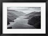 Framed Aerial Landscape Of The Columbia Gorge, Oregon (BW)