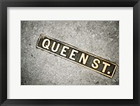 Framed Queen St Sign, Charleston, South Carolina