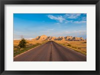 Framed Road Through The Badlands National Park, South Dakota