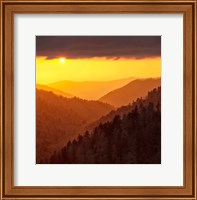 Framed Sunset Light Fills Valley Of The Great Smoky Mountains