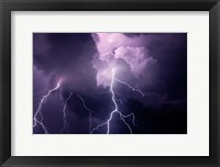 Framed Composite Of Cloud-To-Cloud Lightning Bolts