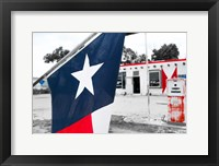 Framed Flag At An Antique Gas Station, Texas