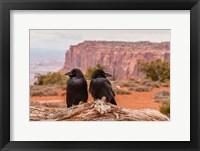Framed Pair Of Ravens On A Log