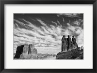 Framed Three Gossips, Arches National Park, Utah (BW)