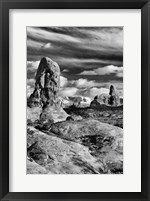 Framed Turret Arch And The La Sal Mountainsm Utah (BW)