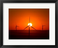 Framed Windmills At Sunset, Washington