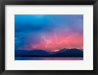 Framed Lightning Over Hood Canal And The Olympic Mountains