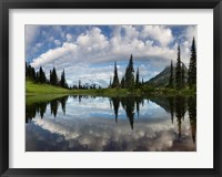 Framed Mt Rainier And Clouds Reflecting In Upper Tipsoo Lake