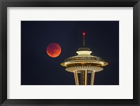 Framed Blood Moon Rises Over The Seattle Space Needle