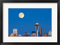 Framed Seattle Skyline View With Full Moon
