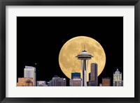 Framed Large Full Moon Behind The Seattle Space Needle