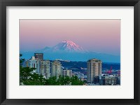 Framed Mount Rainier Behind The Seattle Skyline