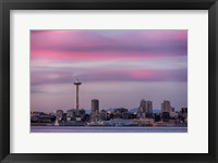 Framed Pink Sunset With The Seattle Space Needle