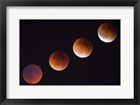 Framed Composite Of The Phases Of A Total Lunar Eclipse