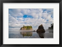 Framed Early Morning Mist And Reflections Of Sea Stacks On Ruby Beach