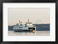 Framed Seattle-Bremerton Ferry Passes In Front Of Mt Rainier