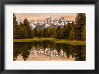 Framed Schwabacher Landing At Sunrise, Wyoming