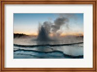 Framed Eruption Of Fountain Geyser After Sunset, Wyoming