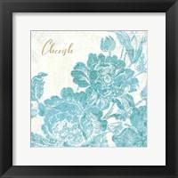 Framed Toile Roses V Teal Cherish