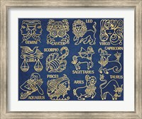 Framed Whats Your Sign Blue Gold