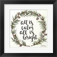 Framed All is Calm Pinecone Wreath