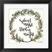 Framed Silent Night Pinecone Wreath
