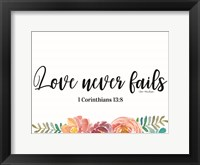 Framed Floral Love Never Fails